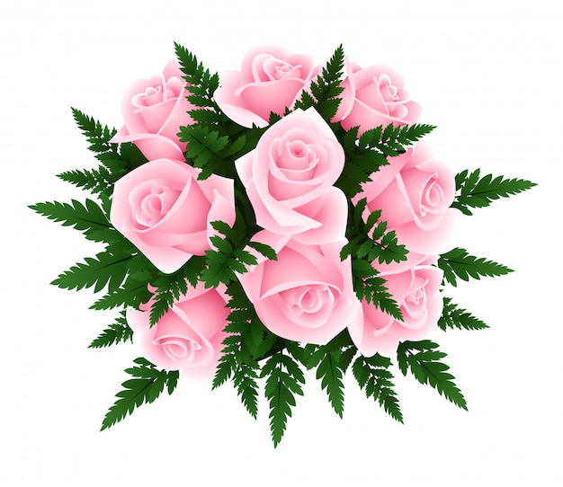 Vector illustration of bouquet of pink roses with fern leaves isolated on a white. Premium Vector