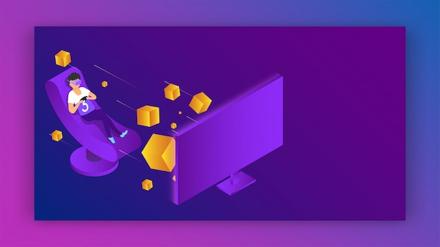 Vector illustration of boy wearing vr glasses playing video game on computer for virtual reality concept. Premium Vector