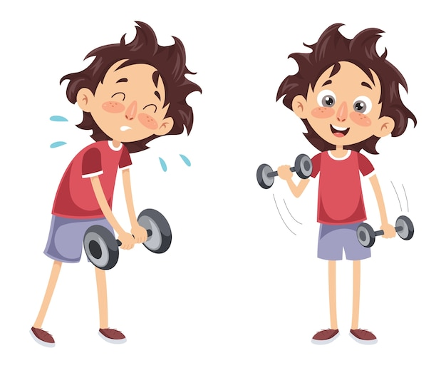 Vector illustration of a boy with dumbbell Premium Vector