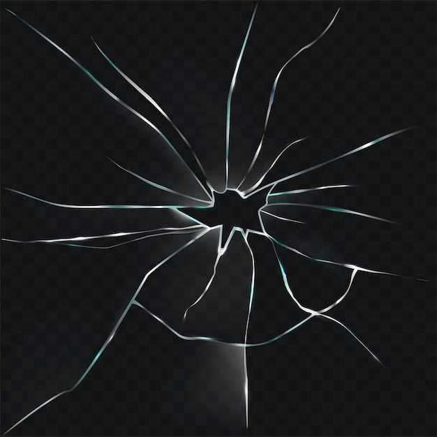 Vector illustration of a broken, cracked, cracked glass with a hole Free Vector