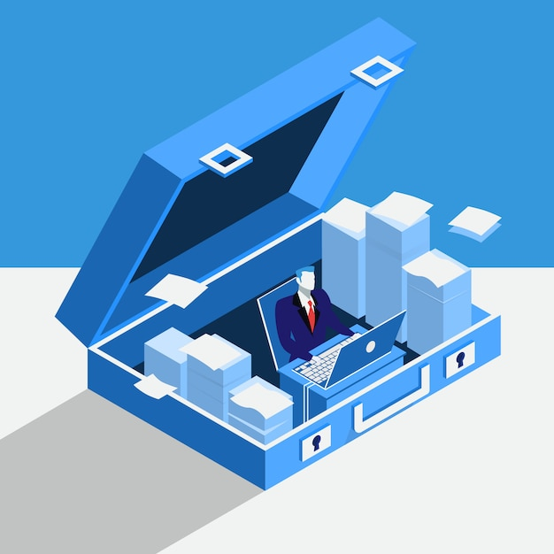 Vector illustration of businessman working at computer in private office situated in briefcase. Premium Vector