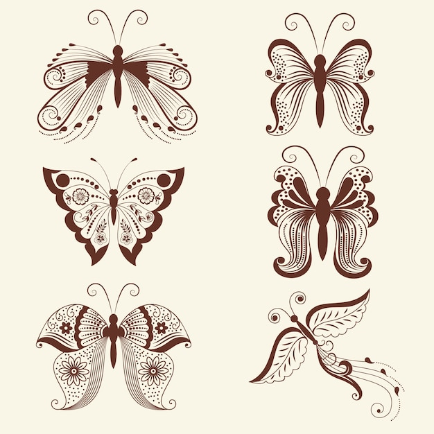 Vector illustration of butterflies in mehndi ornament. traditional indian style, ornamental floral elements for henna tattoo, stickers, mehndi and yoga design, cards and prints. Free Vector