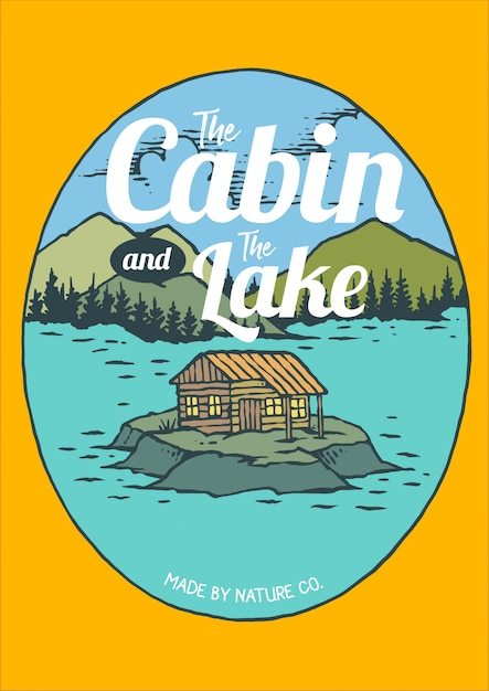 Vector illustration of the cabin and the lake Premium Vector