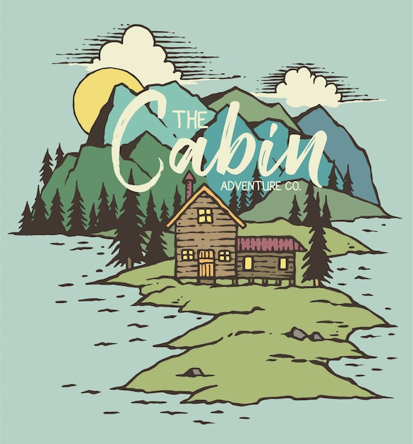 Vector illustration of cabin on lake Premium Vector