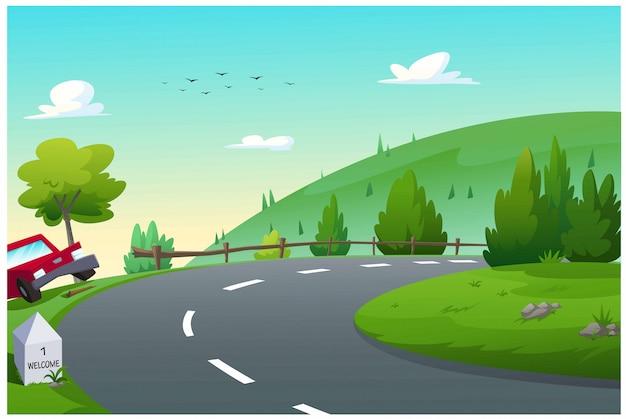 Vector illustration car routes for travel. Premium Vector