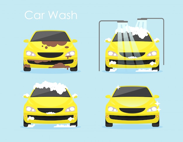 Vector illustration of car washing concept. colorful yellow car is cleaning step by step on blue background in flat cartoon style. Premium Vector