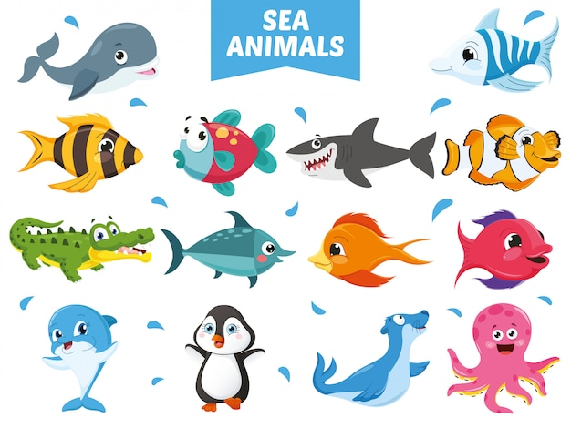 Vector illustration of cartoon animals collection Premium Vector