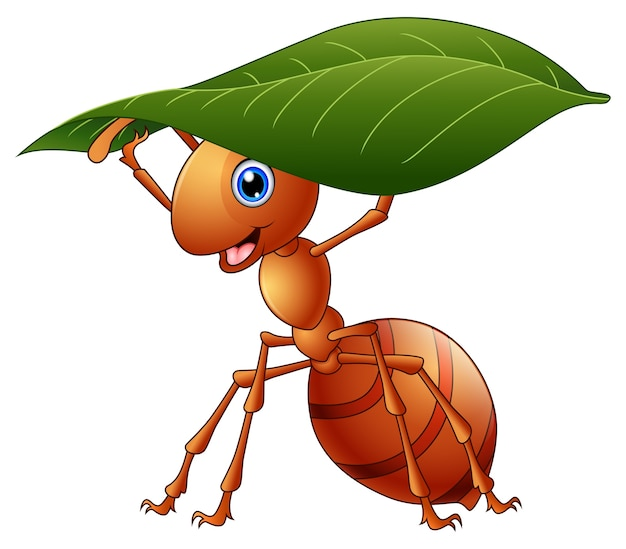 Vector illustration of cartoon ant holding a green leaf Premium Vector