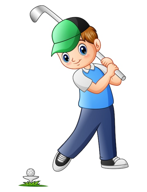 Vector illustration of cartoon boy playing golf Premium Vector