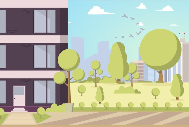 Vector illustration cartoon building in park area Free Vector
