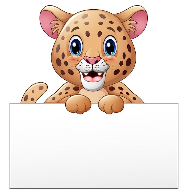 Vector illustration of cartoon cheetah with blank sign Premium Vector