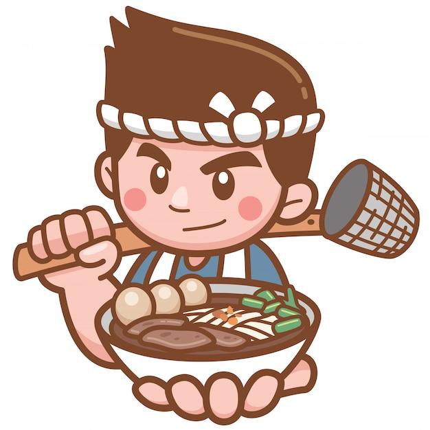 Vector illustration of cartoon chef noodles presenting food Premium Vector