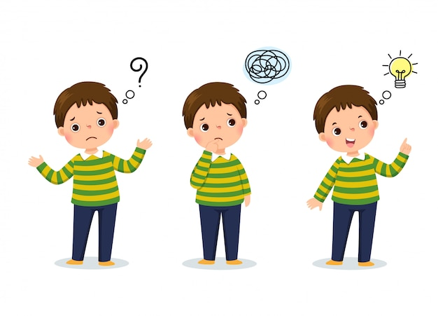 Vector illustration of cartoon child thinking. thoughtful boy, confused boy, and boy with illustrated bulb above his head Premium Vector
