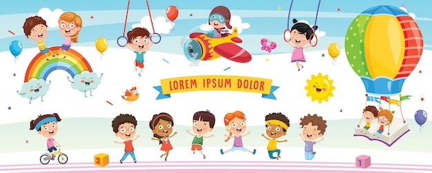 Vector illustration of cartoon children Premium Vector