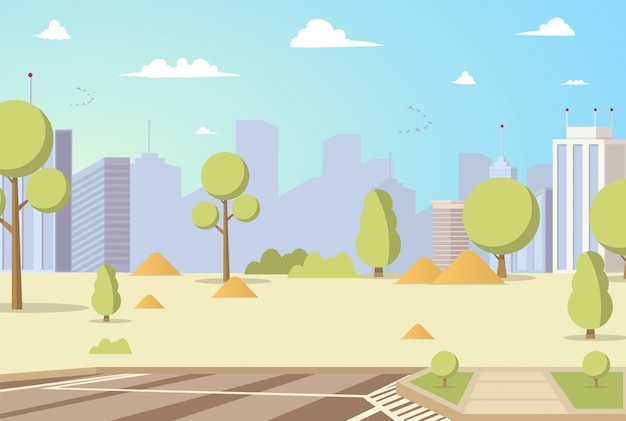 Vector illustration cartoon city park panoramas Free Vector
