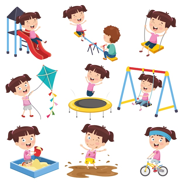 Vector illustration of cartoon girl doing various activities Premium Vector