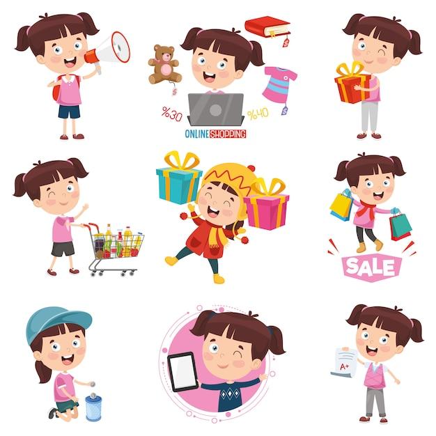 Vector illustration of cartoon girl doing various activities Premium Vector