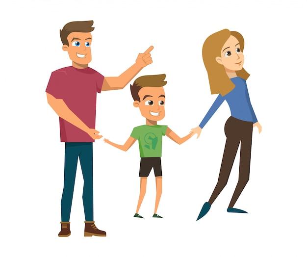 Vector illustration cartoon happy family concept Free Vector