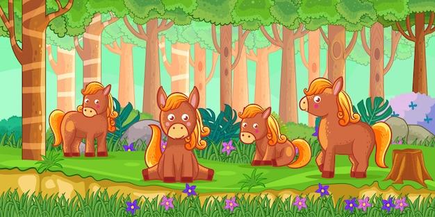 Vector illustration of cartoon horses in the jungle Premium Vector
