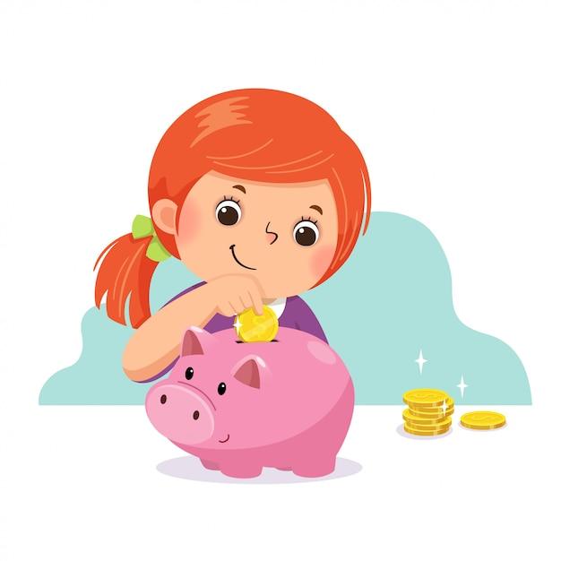 Векторные иллюстрации мультфильм маленькая девочка положить монету в копилку. Premium векторы