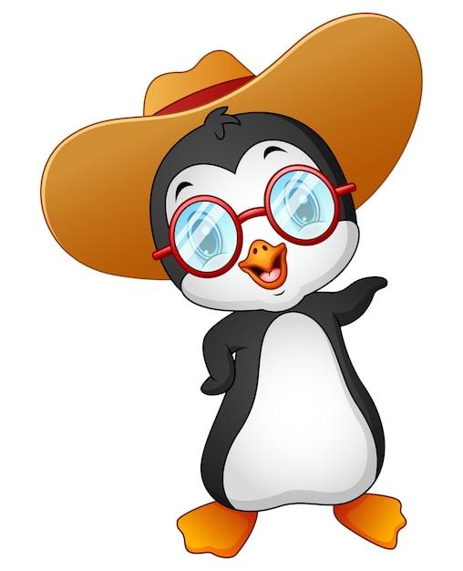 Vector illustration of cartoon penguin in summer straw hat