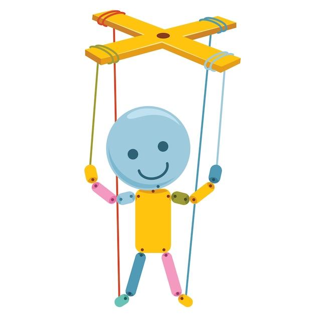 Vector illustration of cartoon puppet Premium Vector
