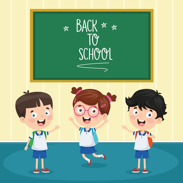 Vector illustration of cartoon students Premium Vector