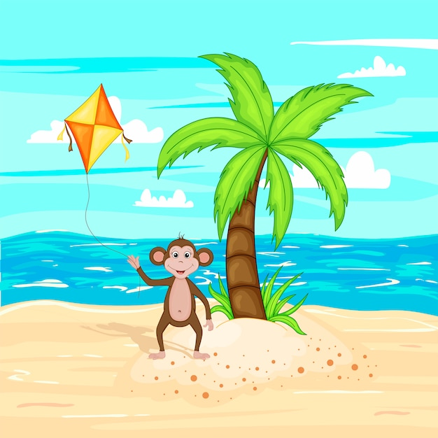 Vector illustration in cartoon style. summer landscape sea and sand. Premium Vector
