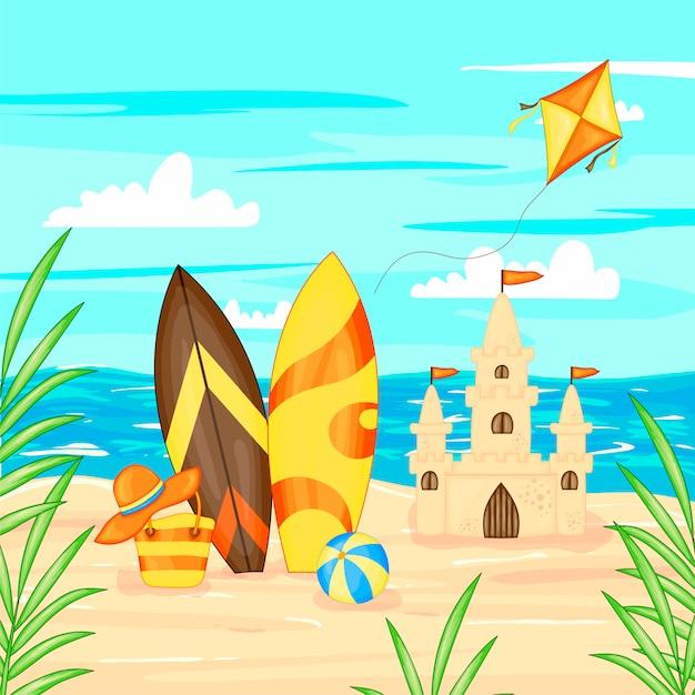 Vector illustration in cartoon style. summer landscape sea and sand. Premium Vector