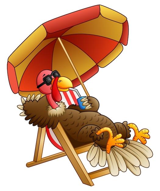 Vector illustration of cartoon turkey bird sitting on beach chair Premium Vector