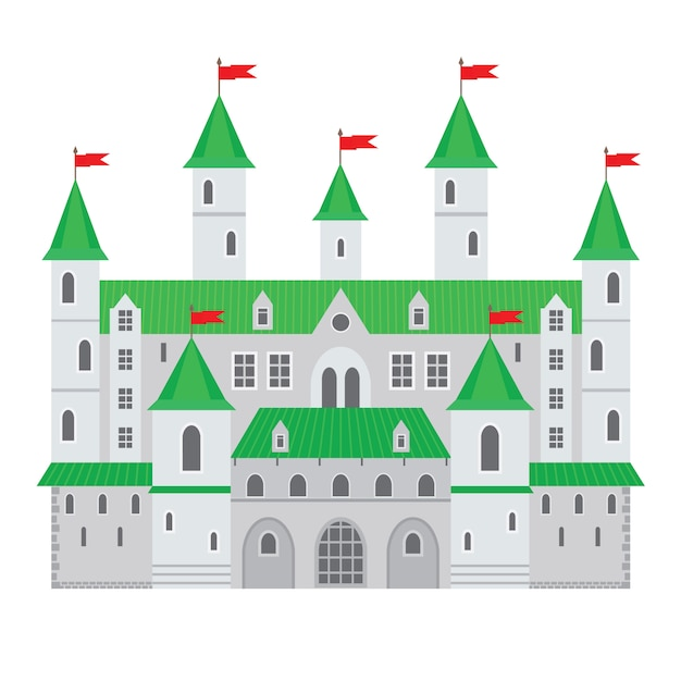 Vector illustration of a castle in flat style. medieval stone fortress Premium Vector