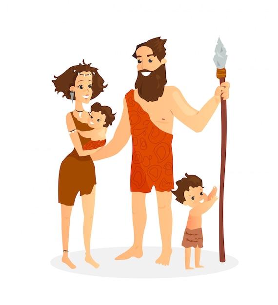 Vector illustration of cavemen family Premium Vector