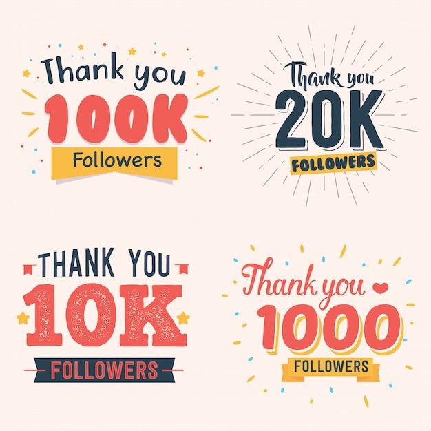 Vector illustration celebrating 100k 20k 10k 1000 follower Premium Vector