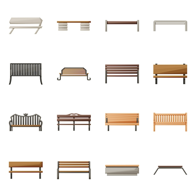Vector illustration of chair and park logo. collection of chair and street stock symbol for web. Premium Vector