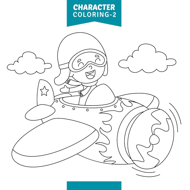 Vector illustration of character coloring page Premium Vector