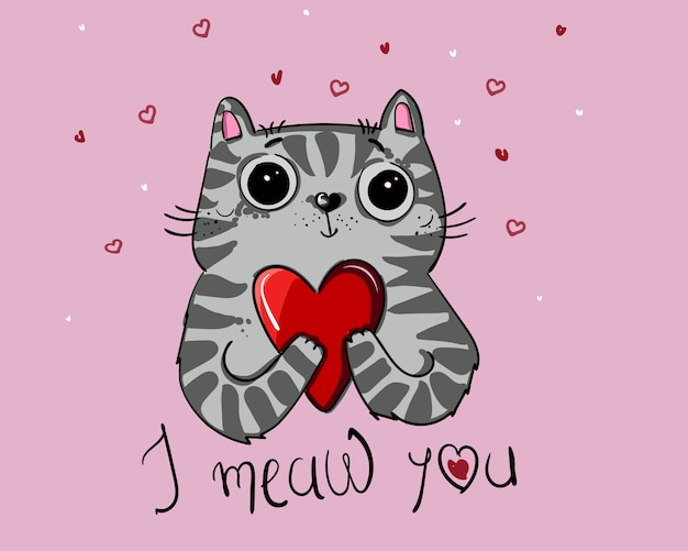 Vector illustration character design cat love with heart for valentine day Premium Vector