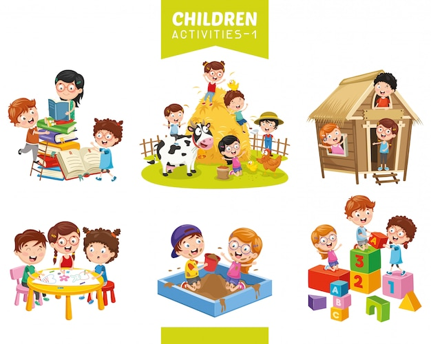 Vector illustration of children activities set Premium Vector