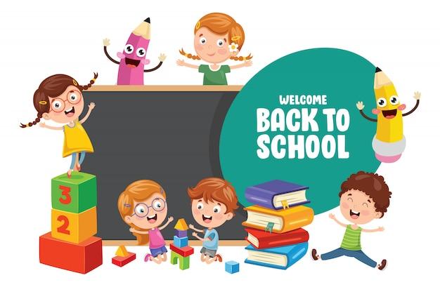 Vector illustration of children back to school Premium Vector