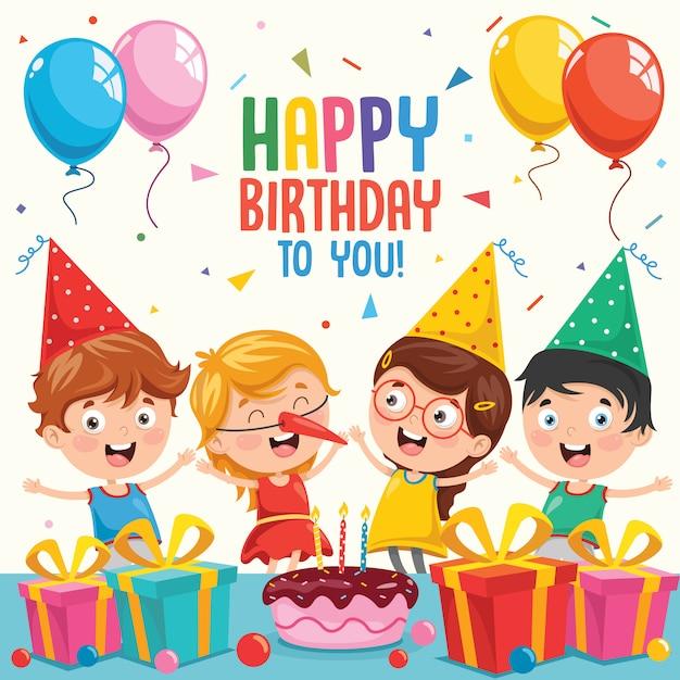 Vector Illustration Of Children Birthday Party Invitation Card Design Premium