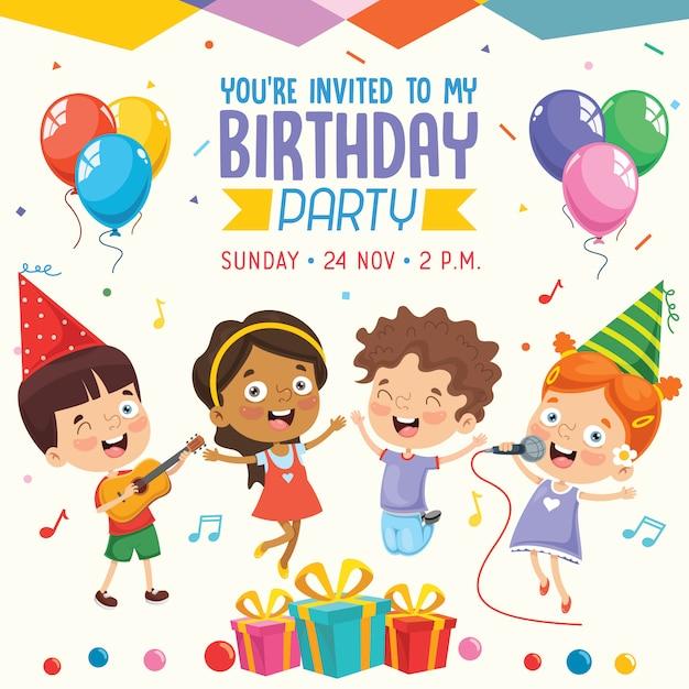 Vector Illustration Of Children Birthday Party Invitation Card
