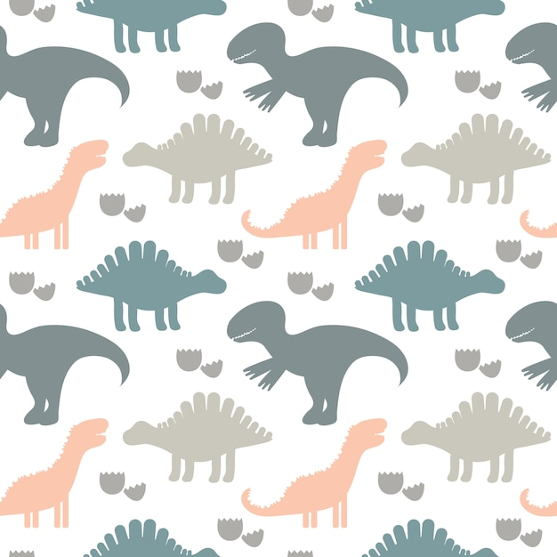 Vector illustration. children cute seamless pattern with silhouettes of dinosaurs. kids background. for textile, fabric. Premium Vector
