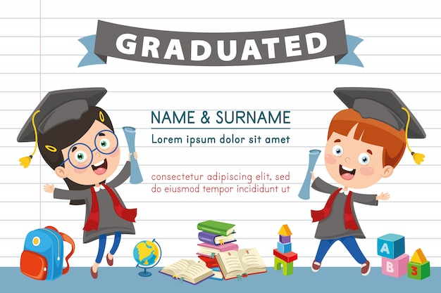 Vector illustration of children diploma Premium Vector