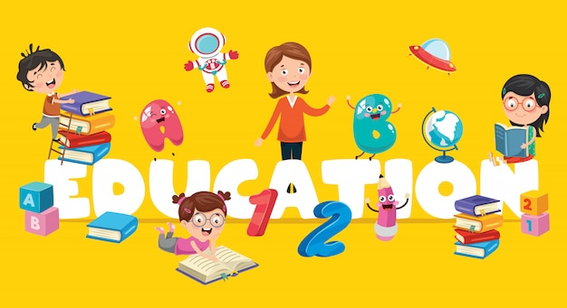 Vector illustration of children education Premium Vector