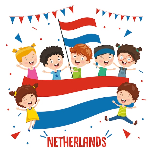 Vector illustration of children holding netherlands flag Premium Vector