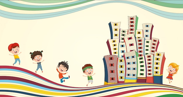 Vector illustration of children playing at city Premium Vector