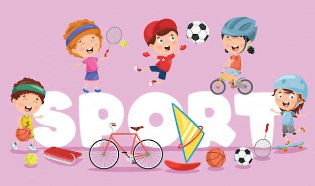 Vector illustration of children sport Premium Vector