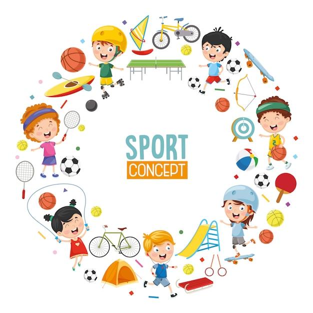 Vector illustration of children sports concept design Premium Vector