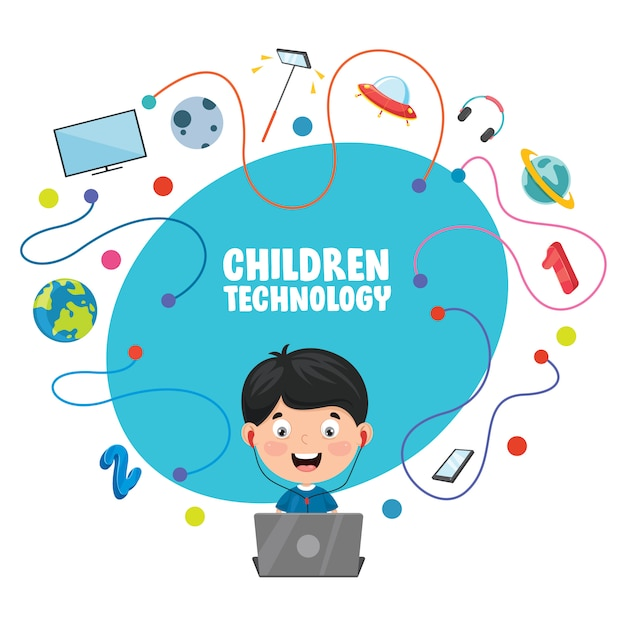Vector illustration of children technology Premium Vector