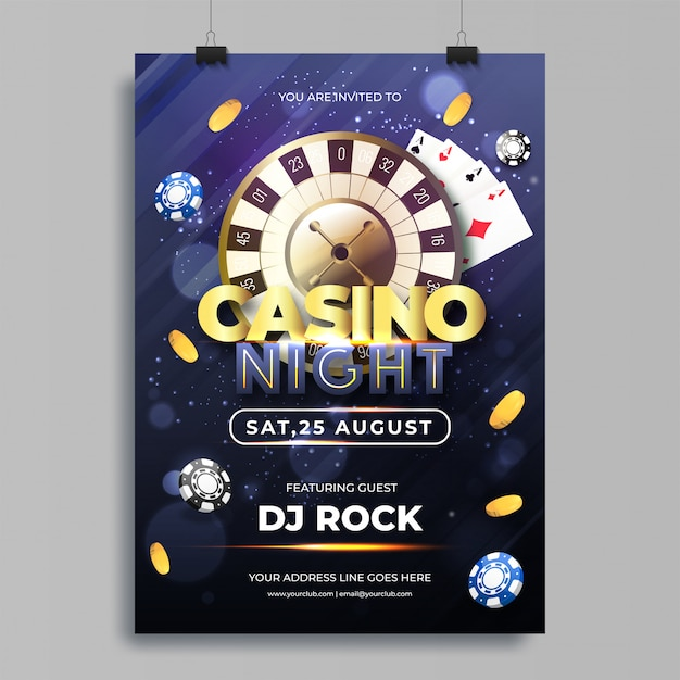 Vector illustration of chips, coins, playing cards and roulette Premium Vector