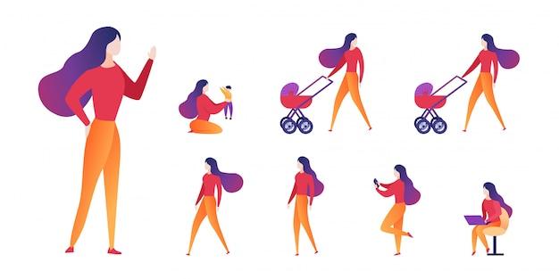 Vector illustration choice motherhood and career. Premium Vector